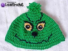 Crochet Grinch beanie_free pattern #grinchscarfcrochetpatternfree