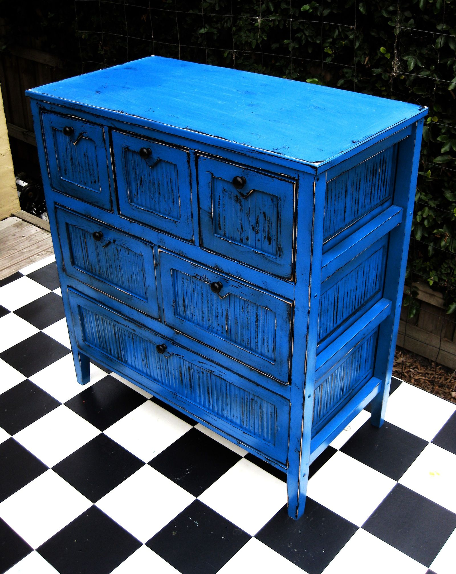 Best Small Chest Of Drawers In Distressed Bright Blue Idée 640 x 480