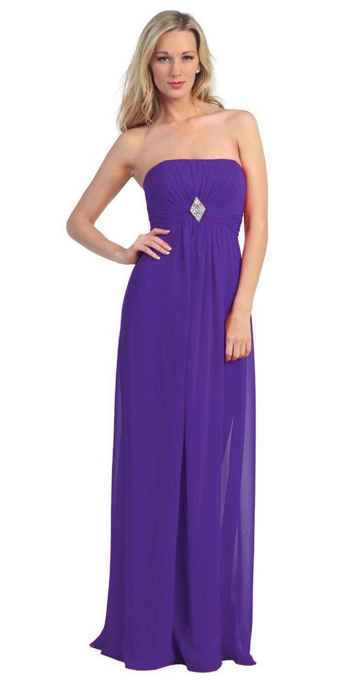 Long purple bridesmaid dress chiffon empire waist strapless brooch long purple bridesmaid dress chiffon empire waist strapless brooch ombrellifo Image collections