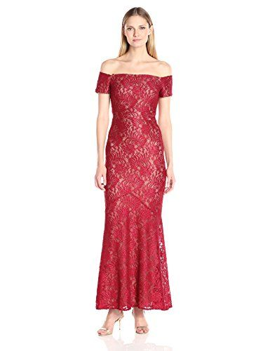 Alex Evenings Womens Long Off The Shoulder Fit and Flare Gown Dress