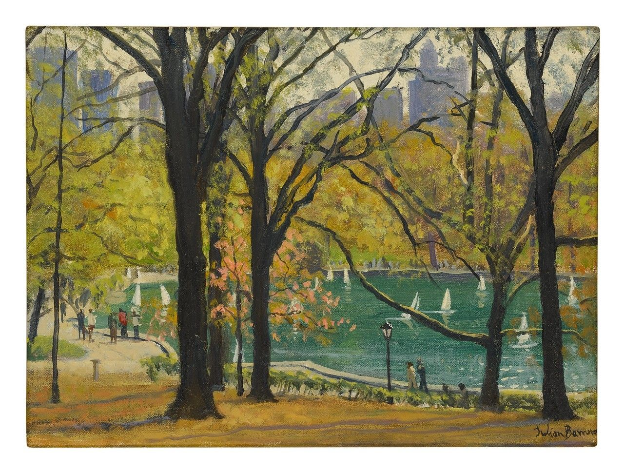 BOATING LAKE, CENTRAL PARK. JULIAN BARROW, 1939 - 2013. Oil on canvas - #central #malerei #painting #park #peinture #pintura #pittura