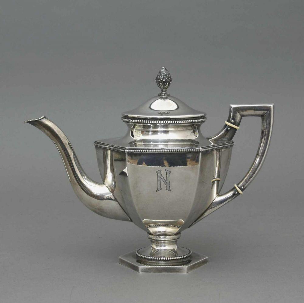 Teekanne, 800er Silber, Schlesien, Johann Bruschke Nachf. Breslau, 1920er Jahre Im Stil des Art Dec — Silber: Sterling, Besteck, Jensen