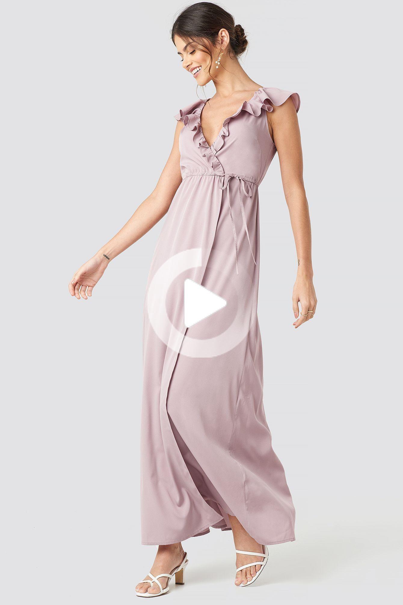 Nieuw Deze maxi jurk van NA KD partij een ruches detail, een V-hals, een GW-87
