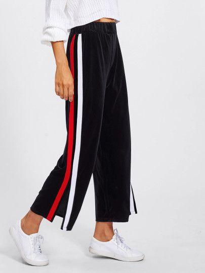 Pantalones anchos de lado de rayas con abertura  8731b9800459