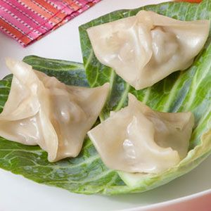 Steamed Chinese Dumplings from WomansDay.com #protein #vegetables #myplate