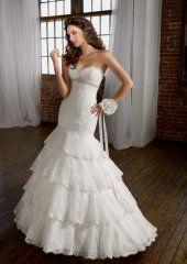 Bretelles sweetheart Mermaid robe de mariée à volants en dentelle