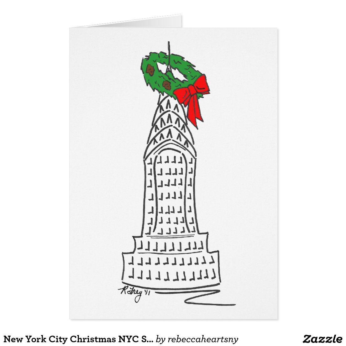 New York City Christmas NYC Skyscraper Wreath Holiday Card | NYC ...