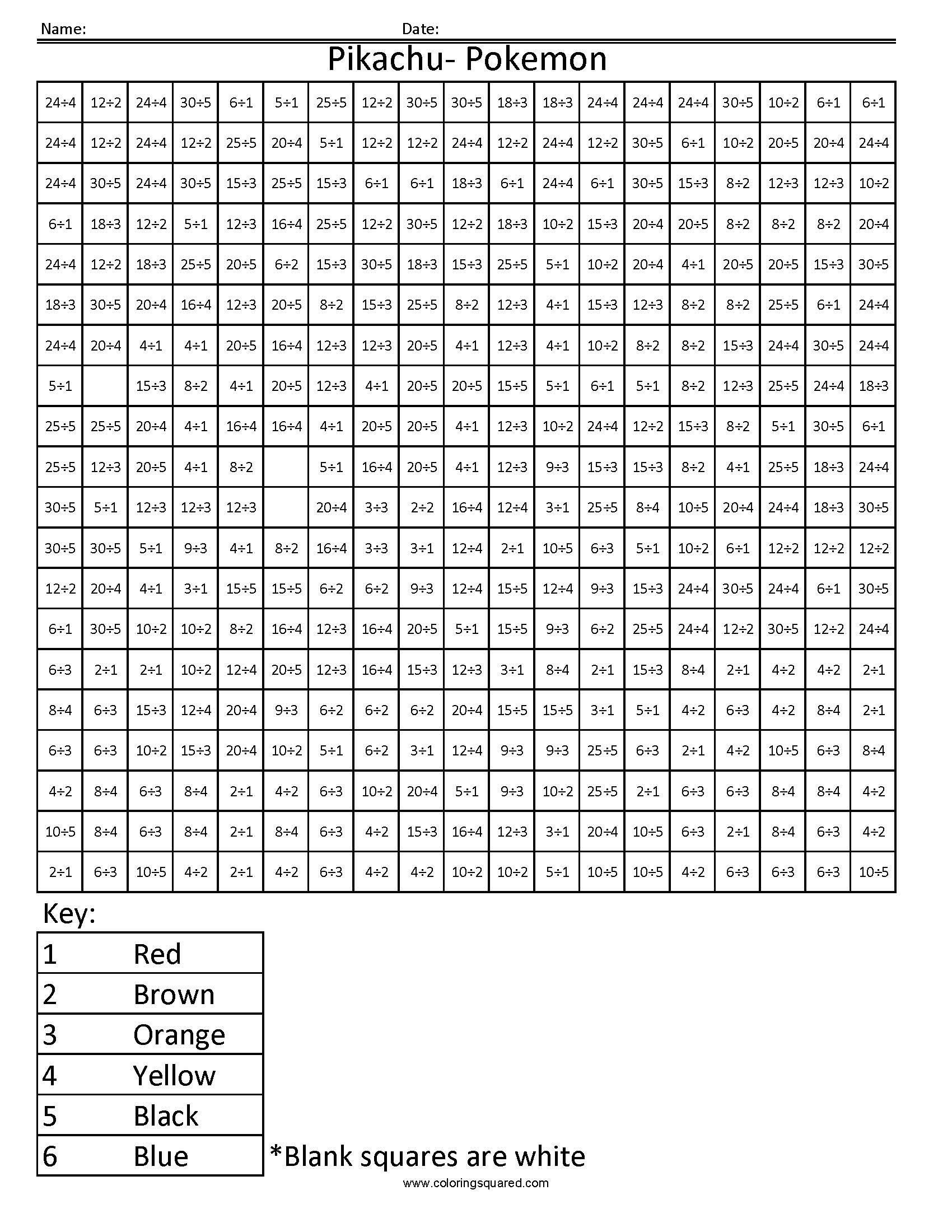 Coloring Squared Worksheets Pikachu Basic Division