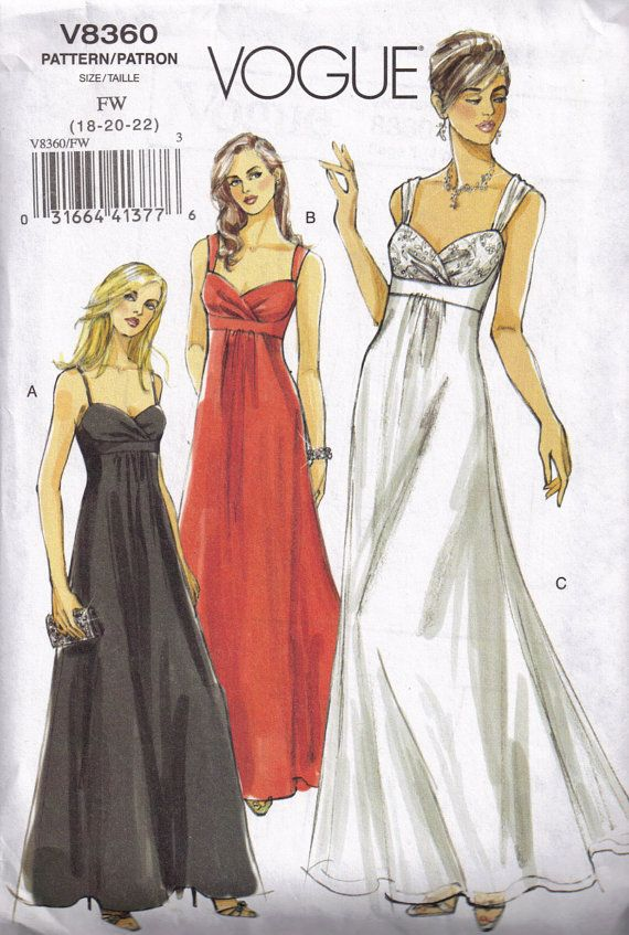 Vogue Wedding Dress Patterns 8360 Prom Special Occasion Sewing Pattern Plus