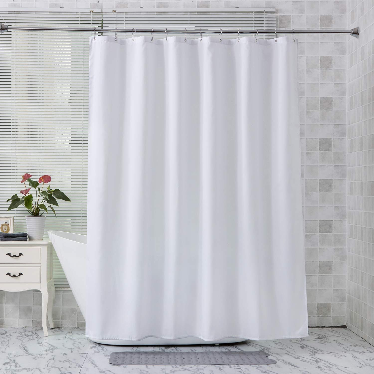 Amazer Fabric Shower Curtain Liner White Polyester Fabric Shower