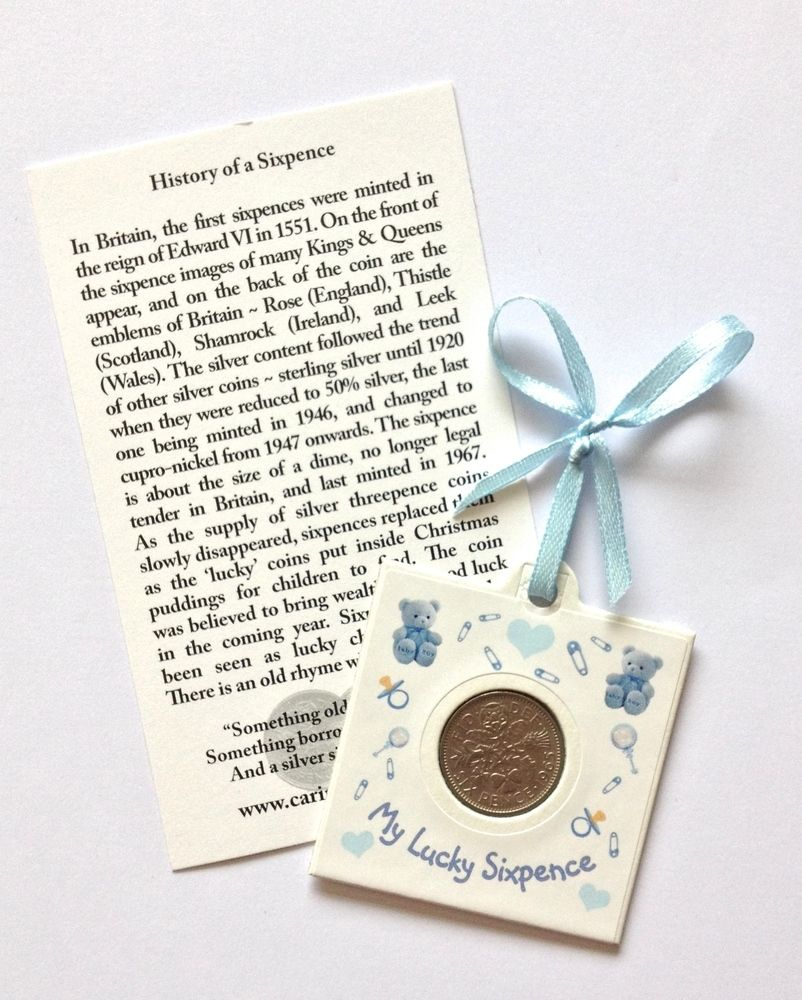 LUCKY SILVER SIXPENCE COIN NEW BABY BOY KEEPSAKE BABY SHOWER PRESENT GIFT