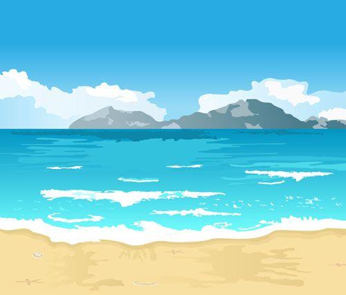 Cartoon beach scenery | Name: Cartoon seaside beach scenery vector ...