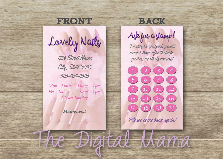 Nail Salon Loyalty Punch Card - Nail Salon Business Card Design ...