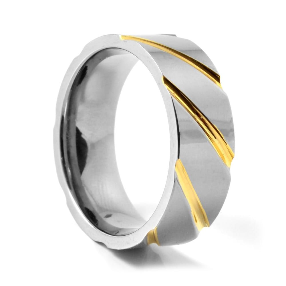 Unique Silver & Gold Titanium Ring | In stock! | Fort Tempus