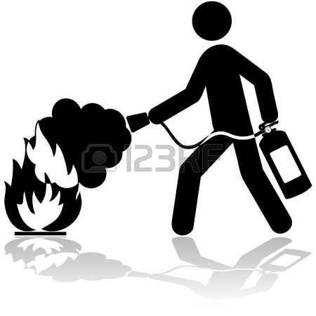 Ilustracin Icono de un hombre usando un extintor para apagar un