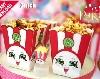 5 Poppy Corn Popcorn Box Shopkins Birthday Party By SuperCraftDee
