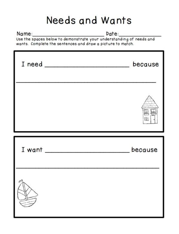 Needs And Wants Freebie Social Studies Elementary Economics Lessons Kindergarten Social Studies Free printable needsvs wants worksheet