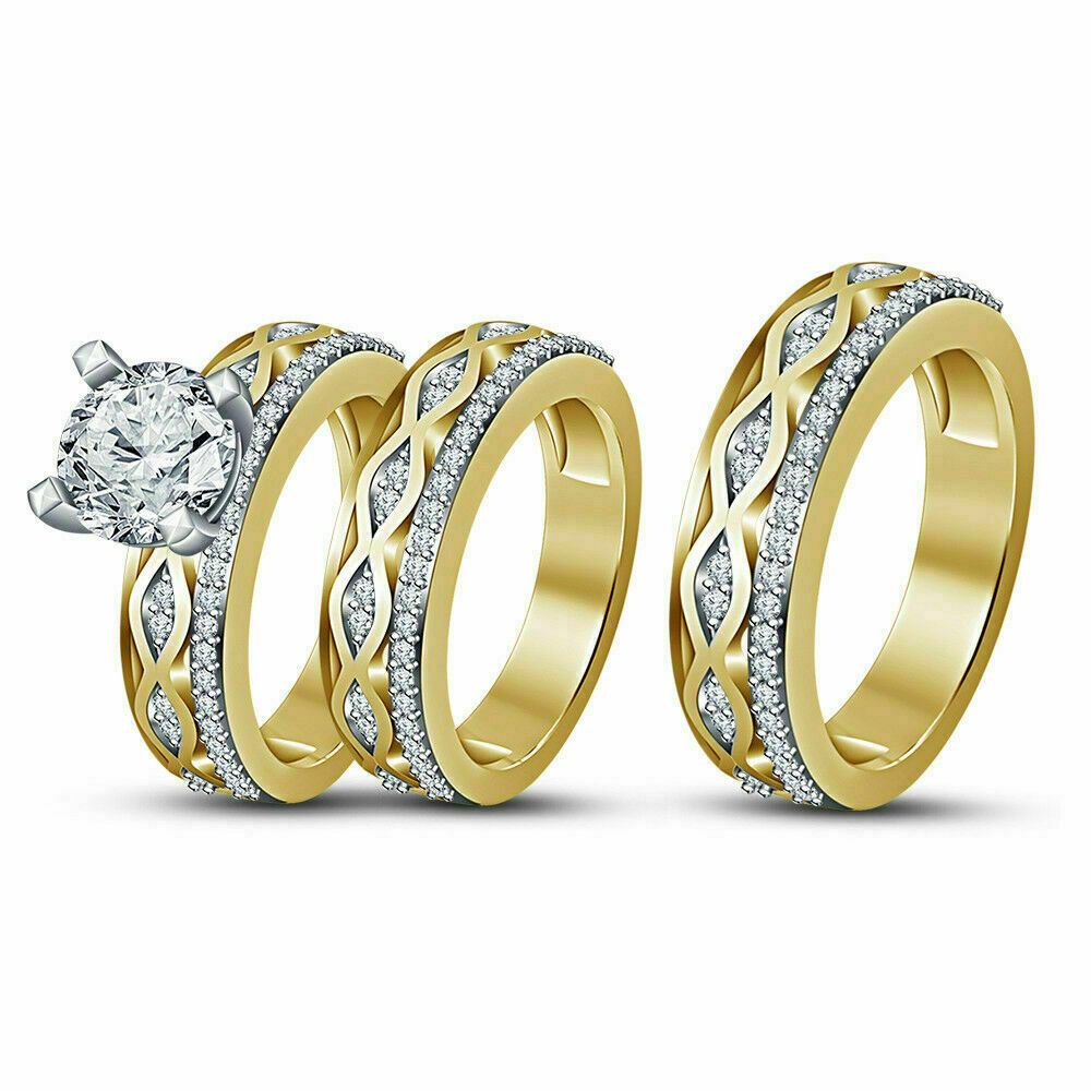 14k gold over engagement ring round cut 2ct diamond trio wedding band bridal set