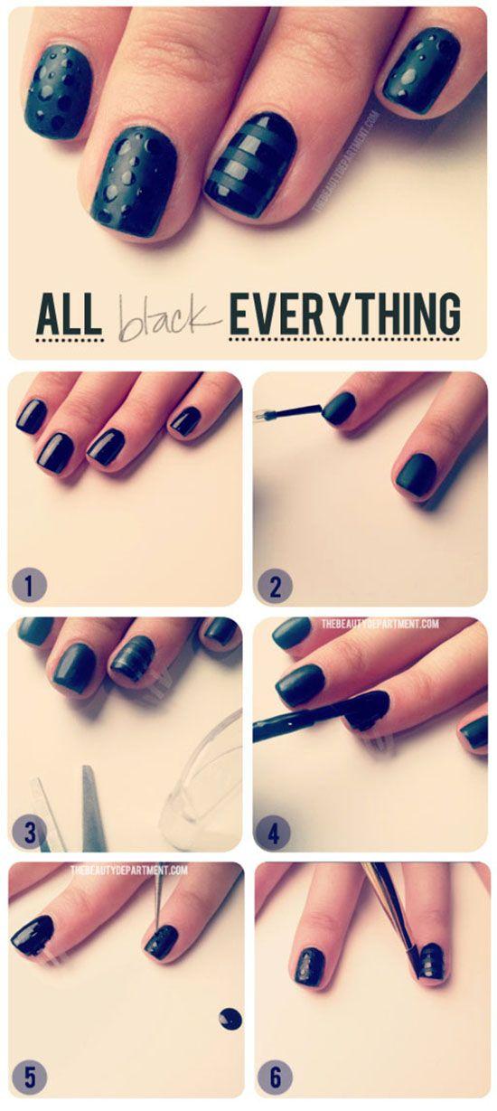 Tutorial Everything Black Nail Art Nails Nailart Beauty New