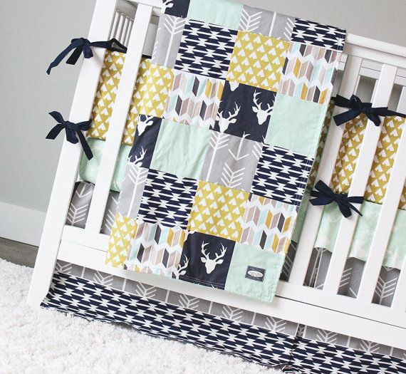 Woodlands Crib Baby Bedding Set Deer Nursery Navy Blue Gray Arrow Skirt Mint Sheet Mustard Tee Pee