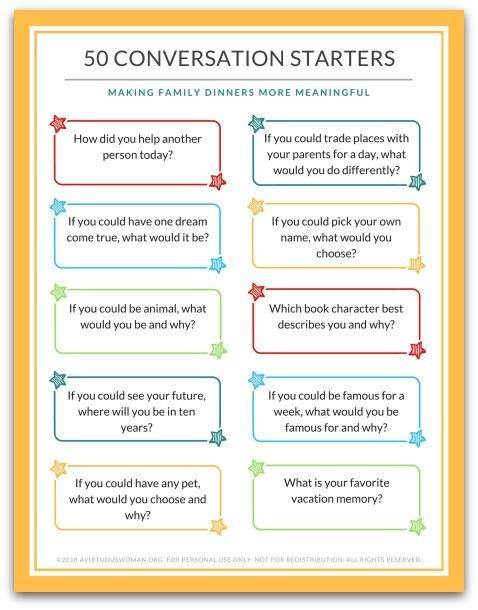 50 Family Dinner Conversation Starter Cards images