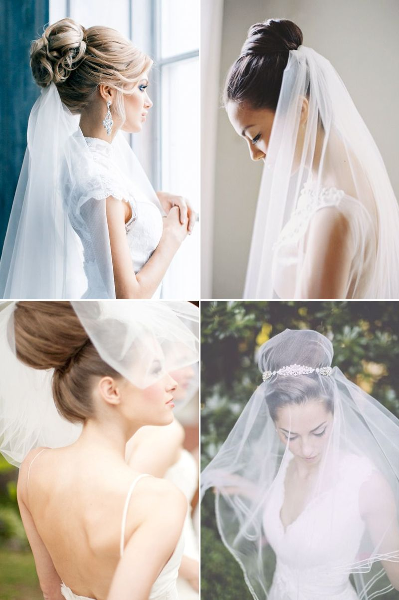 Chic Bridal Hairstyles that Look Good with Veils | Veil, Bridal ...