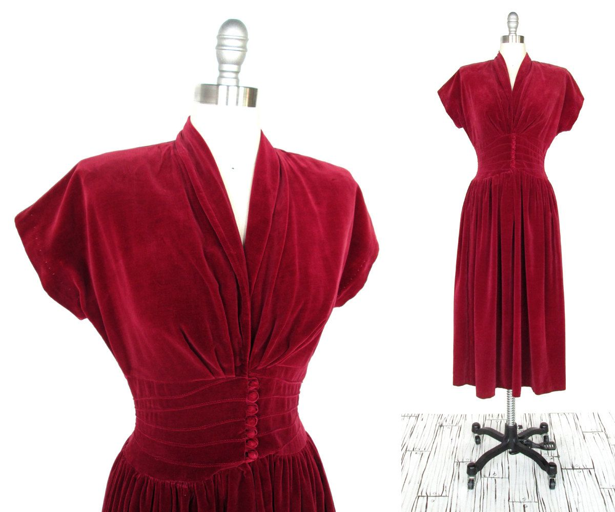 Vintage 1940s Dress Rosey Red Velvet 1940s 50s Party Dress Etsy 1940s Dresses Womens Vintage Dresses Vintage Red Dress [ 1000 x 1200 Pixel ]
