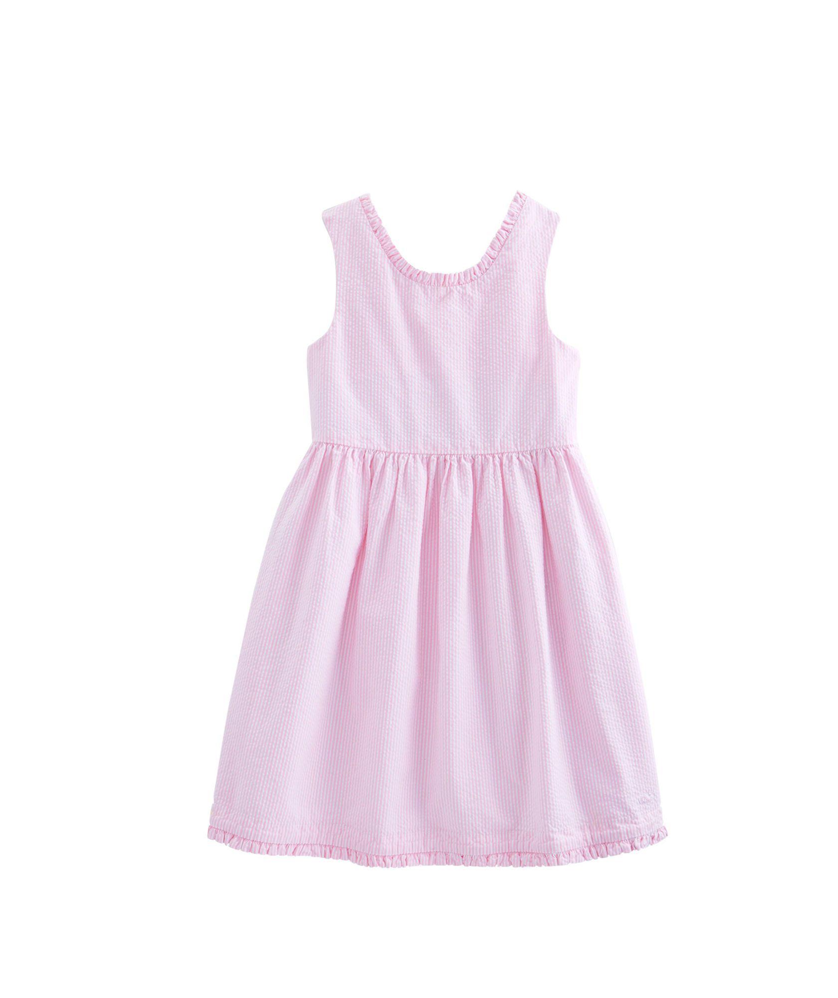 Girls Seersucker Ruffle Scoopback Dress
