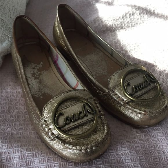 Coach Flats Gold Coach flats! Slight wearing of the gold lining on the inside of the shoe. Such a great classic flat! Coach Shoes Flats & Loafers