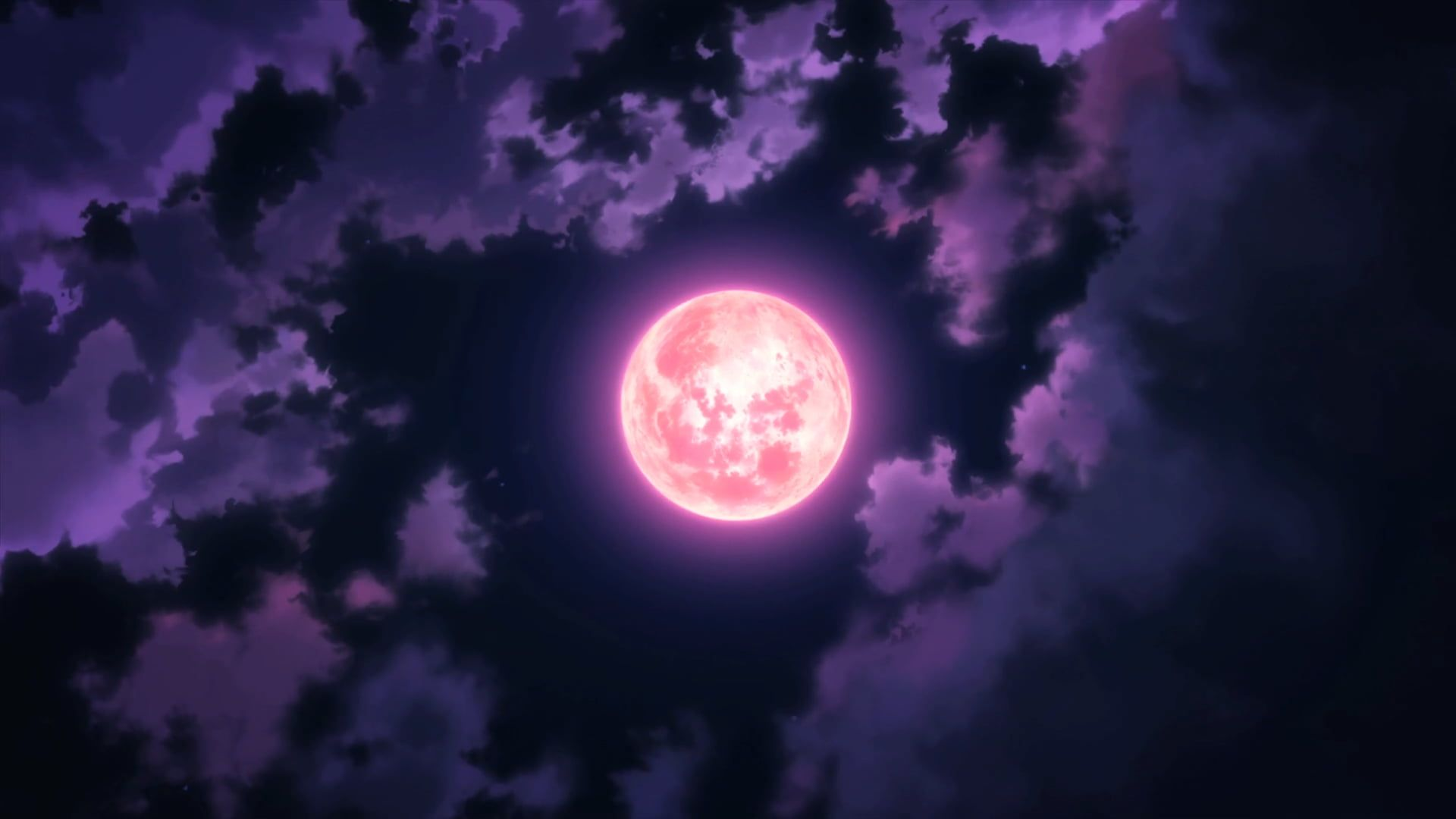 Red Moon Illustration Anime Moon Sky Clouds Night 1080p Wallpaper Hdwallpaper Desktop Sky Anime Moon Illustration Red Moon