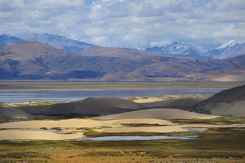 Himalayan Ice peaks, desert sand dunes and  the River Yarlung Tsangpo (Brahmaputra), Tibet