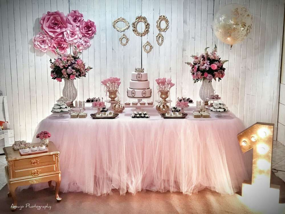 A Fabulous Pink Princess 1st Birthday Party Love The Tutu Table SkirtSee More