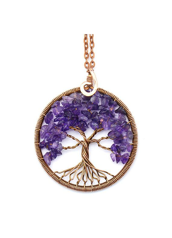 AMETHYST NECKLACE, AMETHYST pendant Tree-of-Life Pendant Tree-of ...