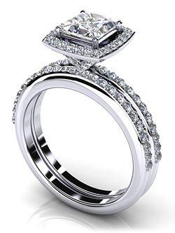Princess Cut Diamond Wedding Set With Diamond Band