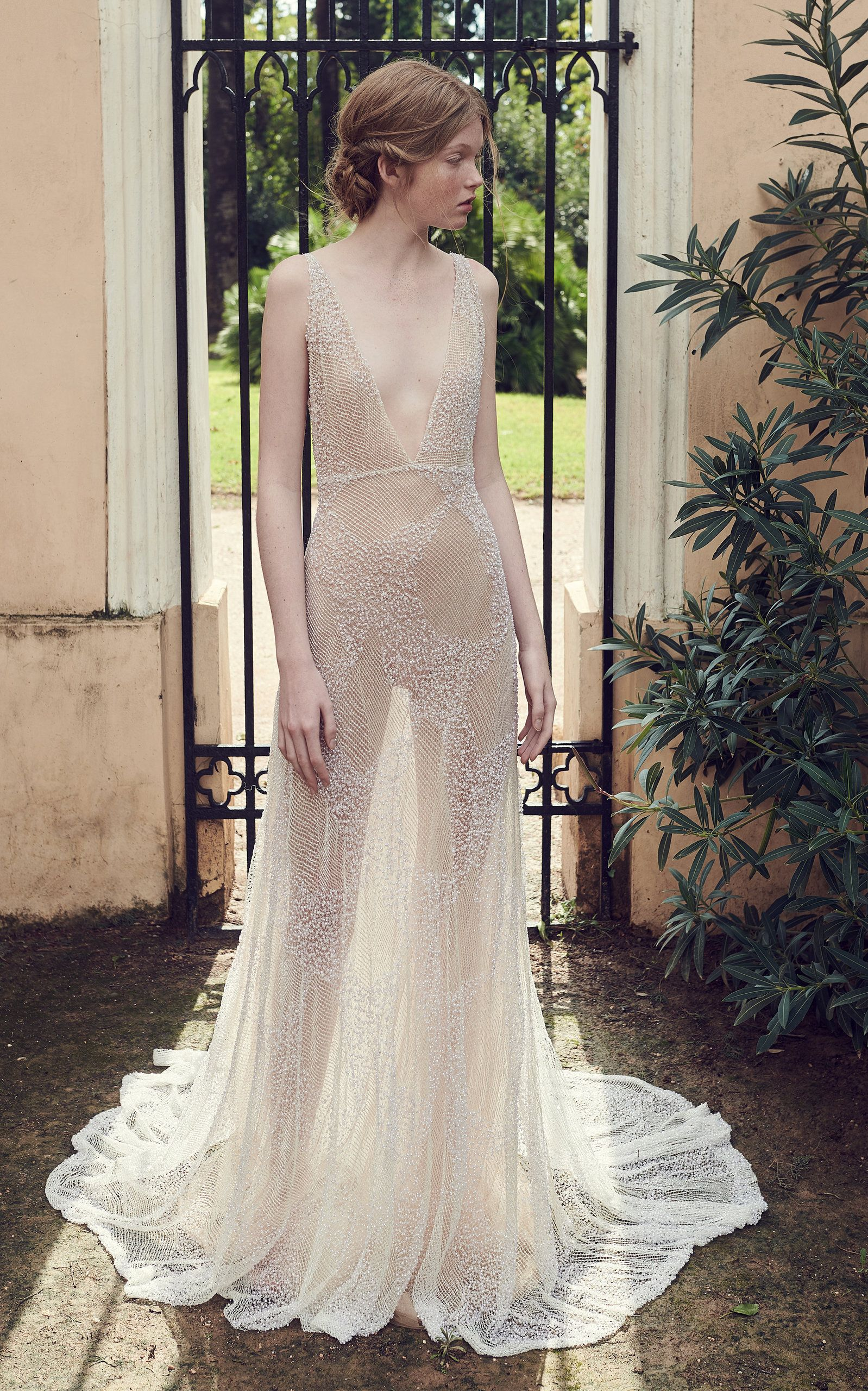 Beaded Tulle Plunging Vneck Gown By Costarellos Bridal For Preorder On Moda Operandi: Sparkly Accessories For Wedding Dress At Websimilar.org