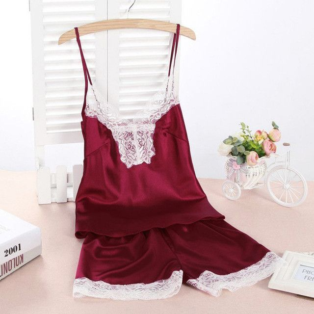 4372a1c9015f New Women Satin Sexy Lace Robe Shorts Sleepwear Nightwear Pajamas Set Hot S1