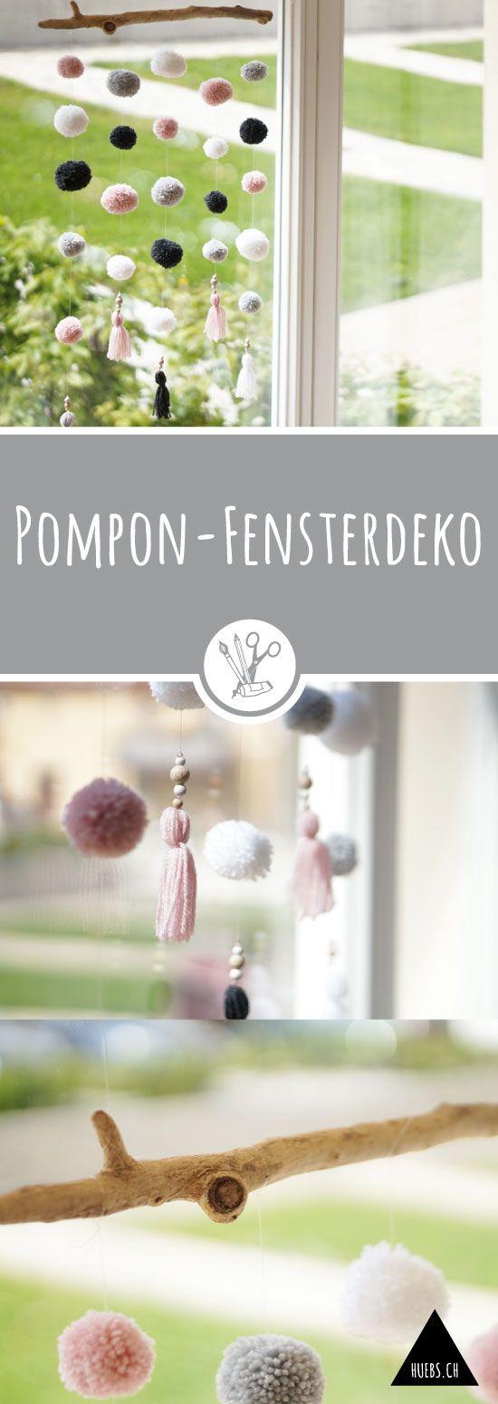 Pompon-Fensterdeko #håndarbejde