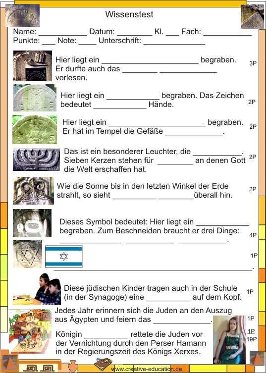 Urkunde Judentum - Ein Wissenstest | Judentum | Pinterest