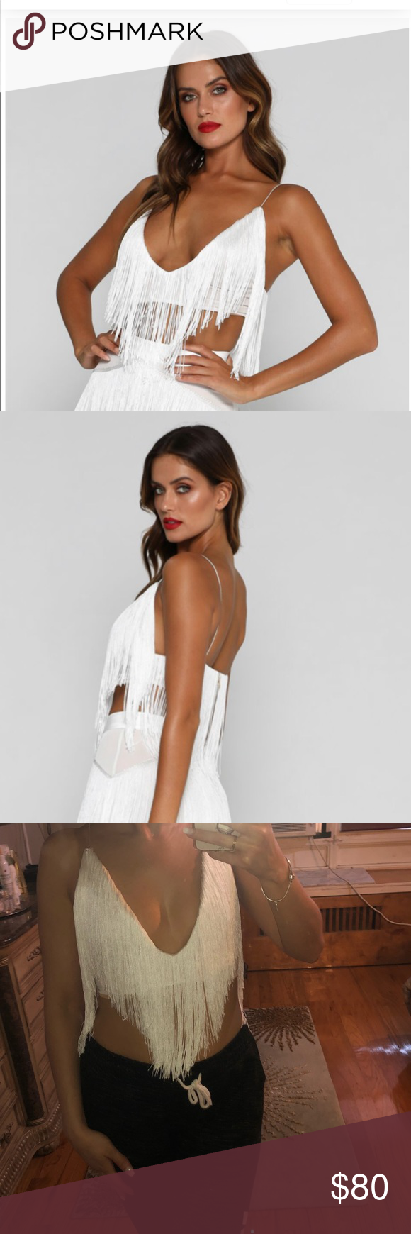 4626e74027501 Meshki Leia fringetop Sold out stunning Meshki leia fringe top in white ..  size small brand new never worn just tried on .. tagged ASOS for views  meshki ...