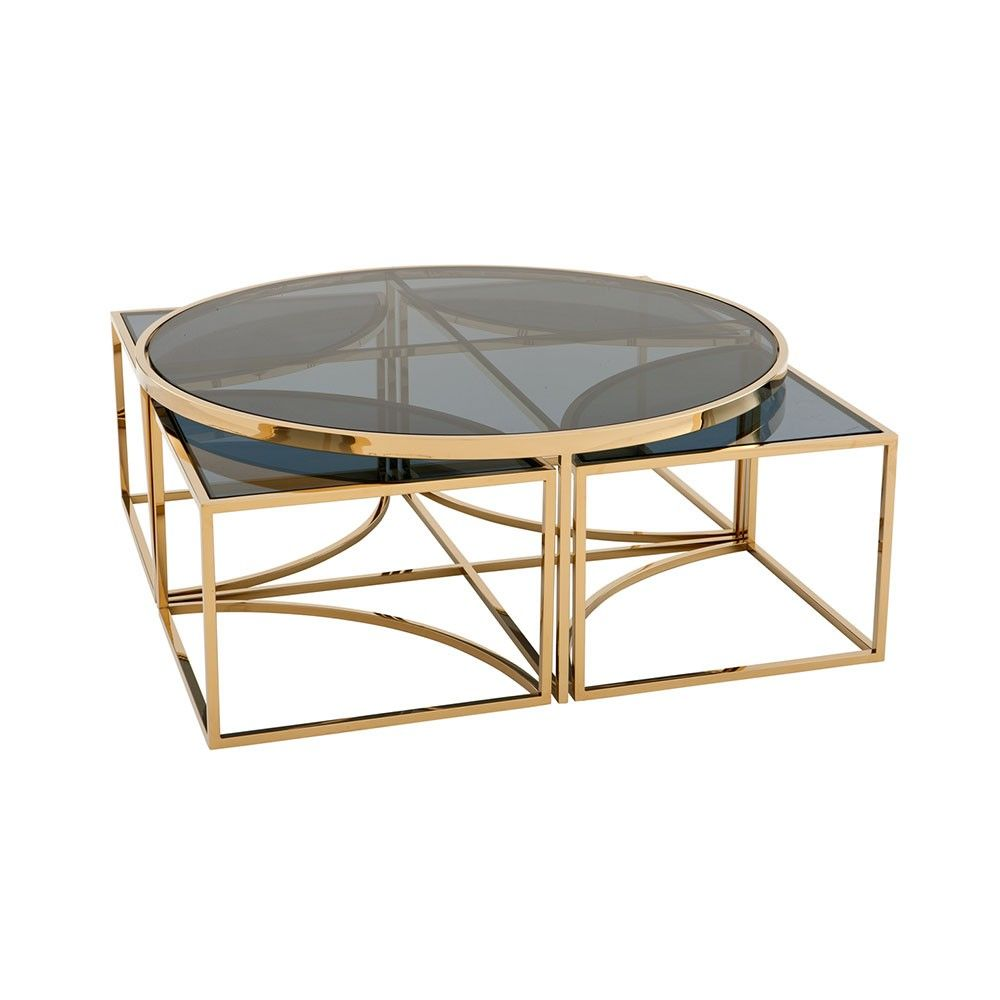 Square Glass Coffee Table Gold 4
