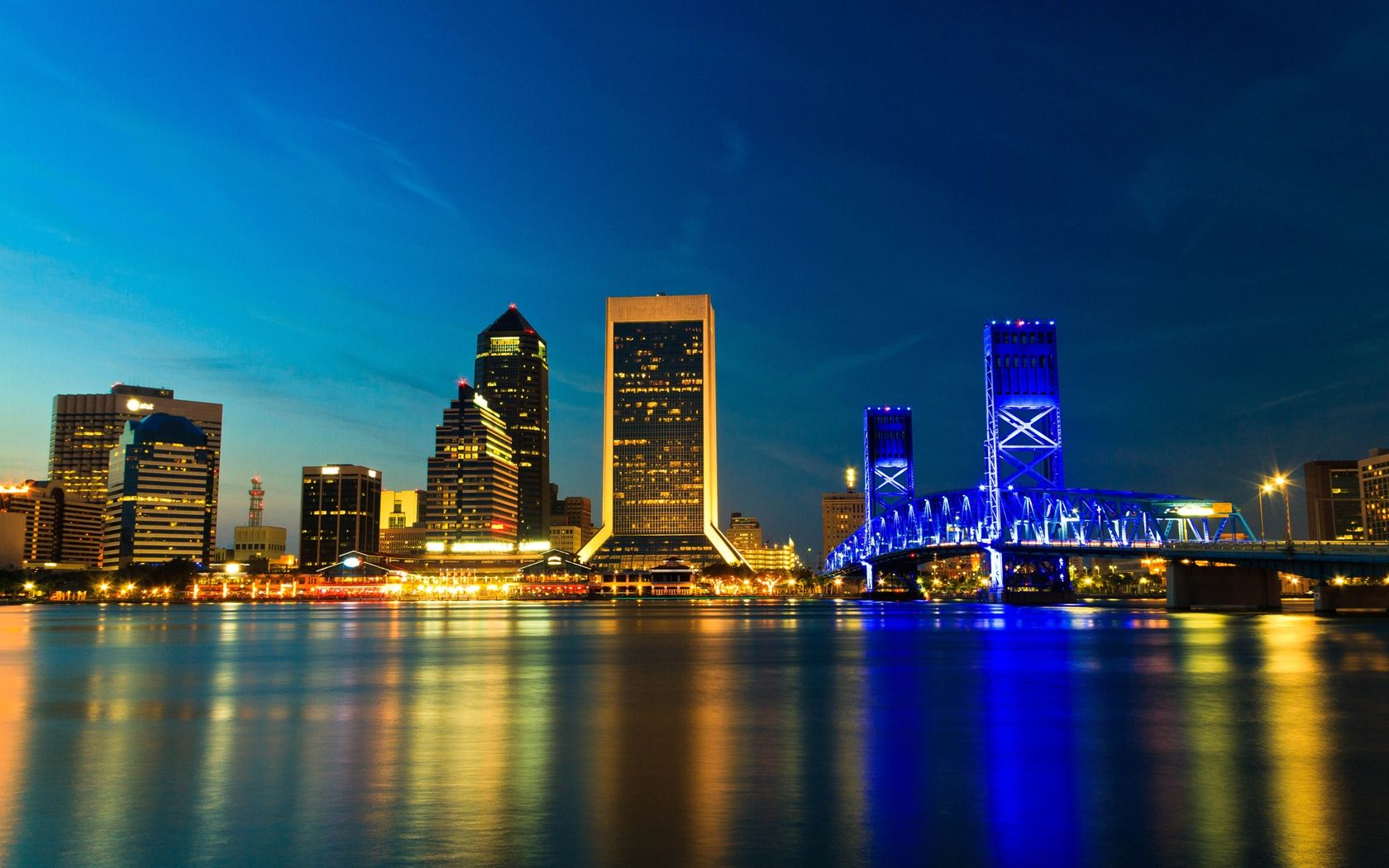 Download Wallpaper Usa Jacksonville Florida Bridge City Night