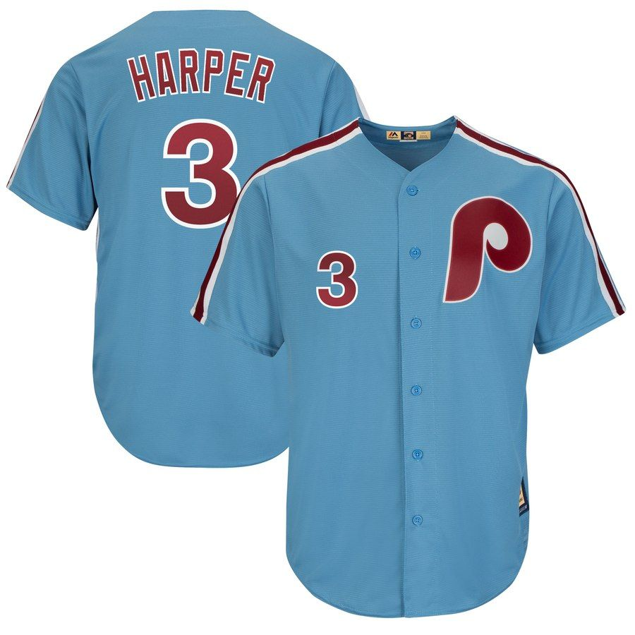 Men S Philadelphia Phillies Bryce Harper Majestic Light Blue Cool Base Cooperstown Player Jersey In 2020 Philadelphia Phillies Phillies Bryce Harper