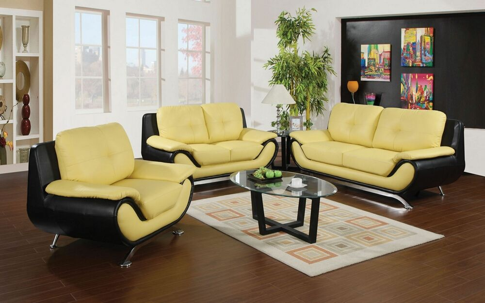 2 Pc Oberon Collection Modern Style Yellow And Black Bonded Leather Upholstered Furniture Design Living Room Living Room Leather Leather Living Room Furniture #overstuffed #living #room #furniture