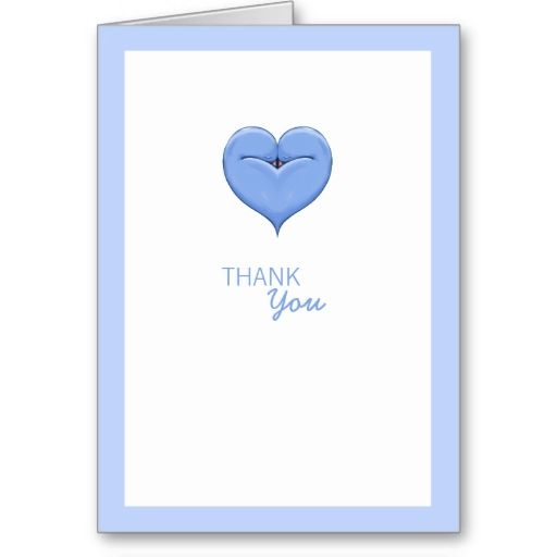 Twin Doves Heart blue Baby Shower Thank You Card