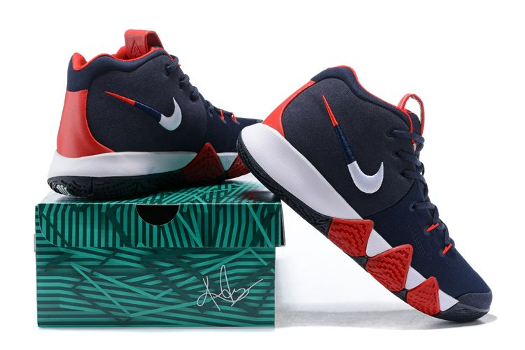 "93651fa0b4ae 2018 Nike Kyrie 4 ""USA"" Navy Blue White-Red For Sale"