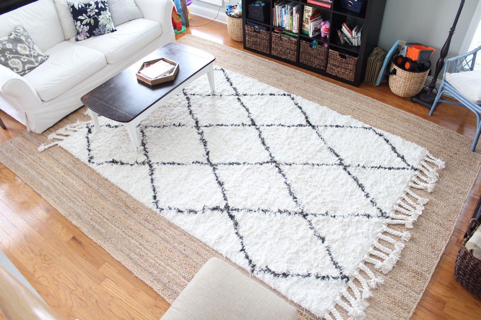 Our New Double Layer Rugs In The Living Room Jute Rug Living Room Layered Rugs Layered Rugs Living Room