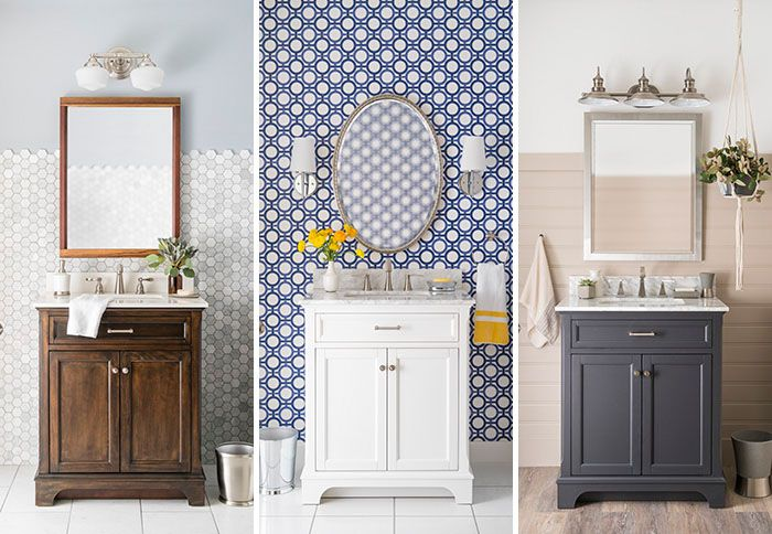 Powder Room Design Options With Diffe Vanity Cabinets And Accessories