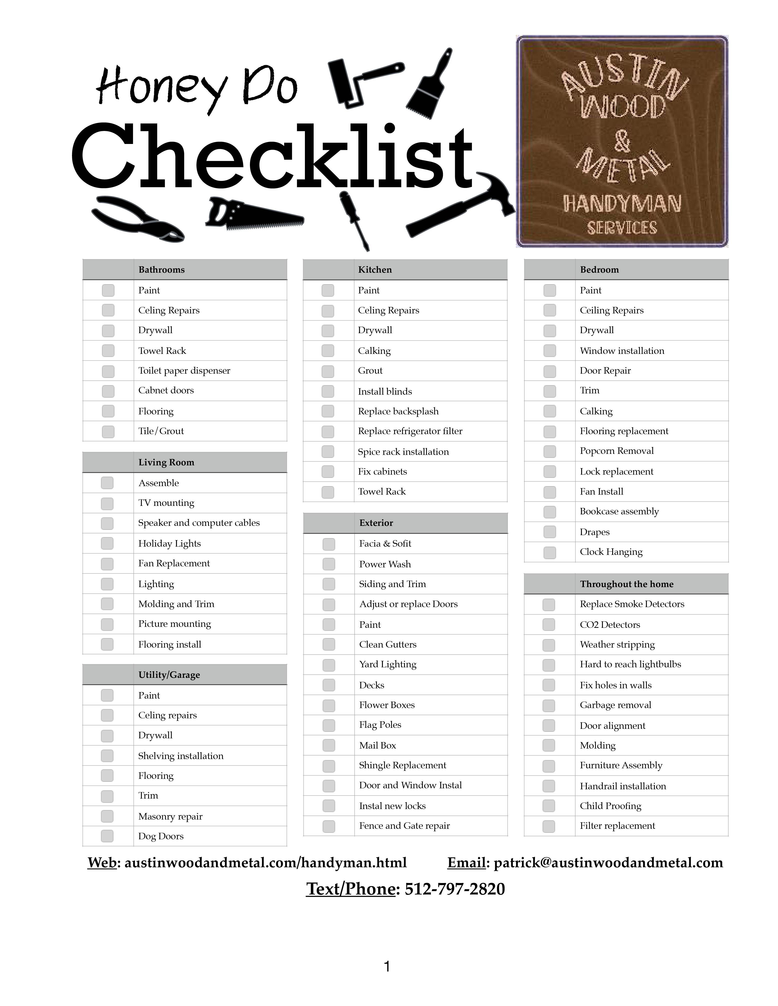 Austin wood and metal honey do checklist handyman
