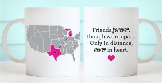 Custom Long Distance Usa Map Mug Mugs Gifts For Friends