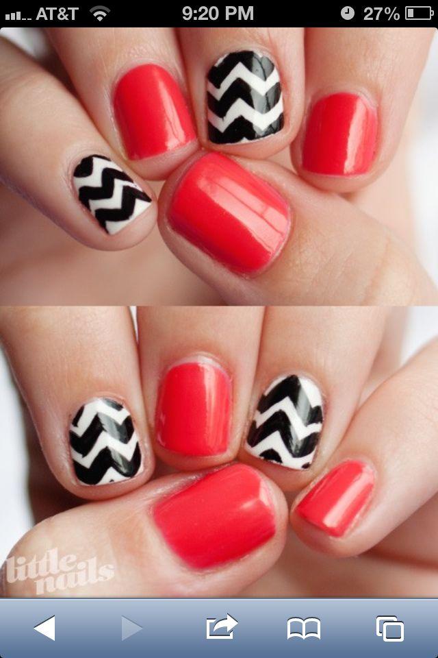 red & black white chevron nails